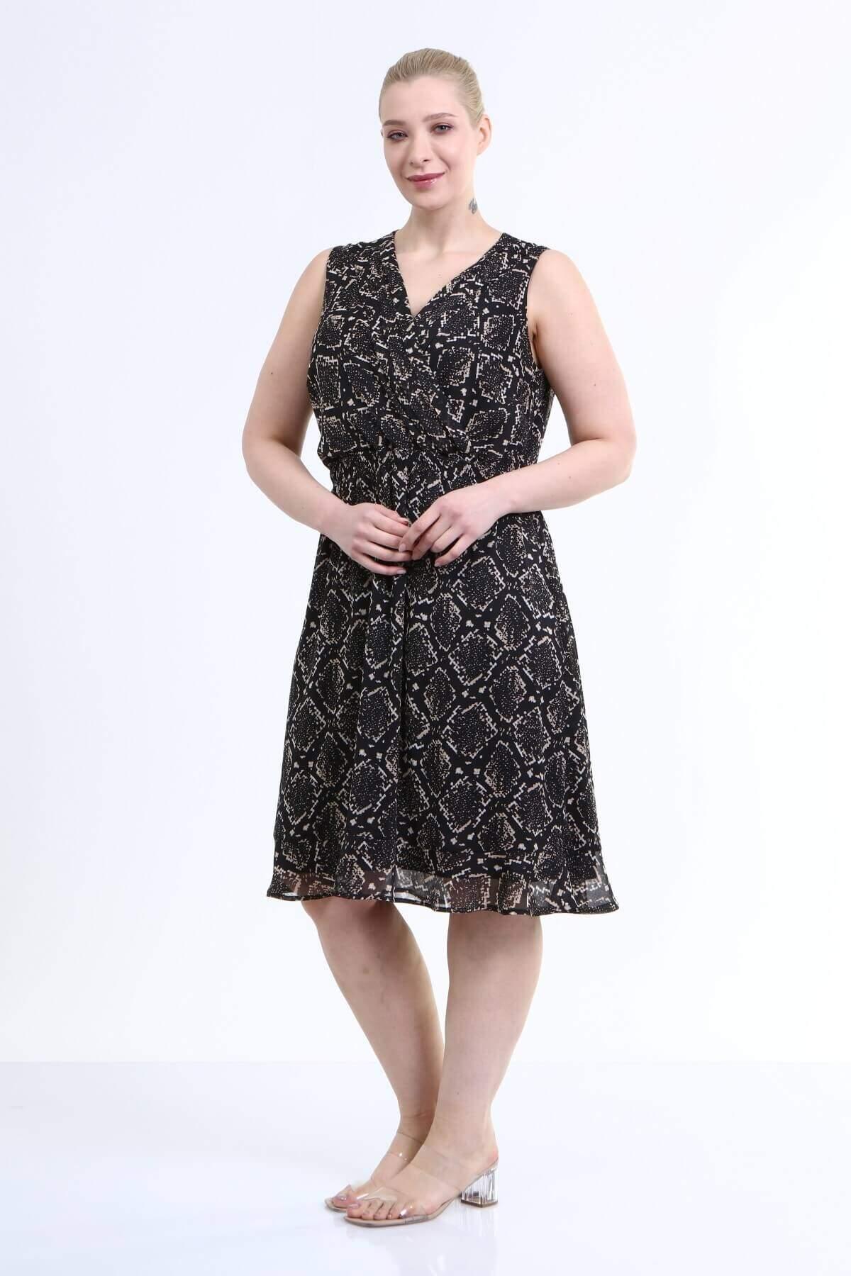 Astarlı Kolsuz Şifon Elbise