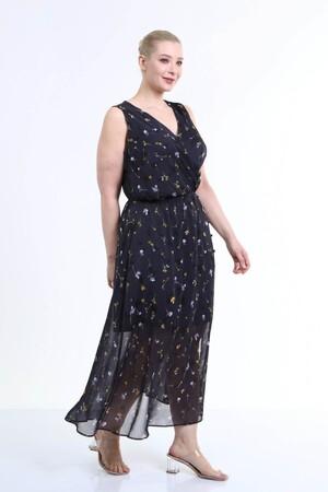 - Astarlı Şifon Kolsuz Elbise (1)