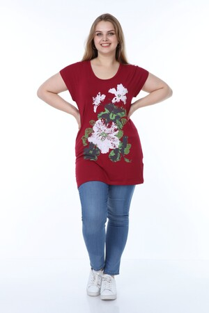 Angelino Butik - Bayan Vişne Çiçekli Tunik 70031 (1)