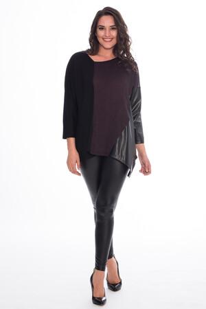 Mangolino Giyim - AG23175 Siyah Büyük Beden Likralı Tayt (1)