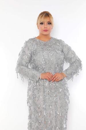 - Büyük Beden Sarkıtma Saçaklı Pul Detay Abiye Elbise BYM3233 Gri (1)