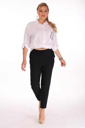 - Bel Lastikli Detaylı Siyah Pantolon (1)