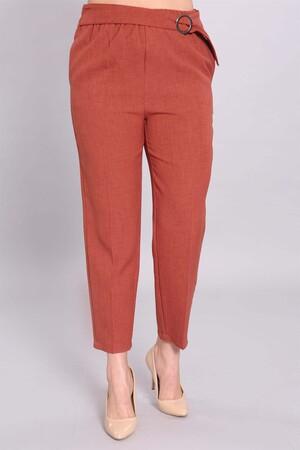 - Bel Lastikli Toka Detaylı Kiremit Pantolon (1)