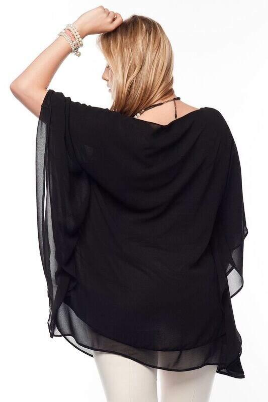 Büyük Beden Abiye Bluz Siyah MD1900