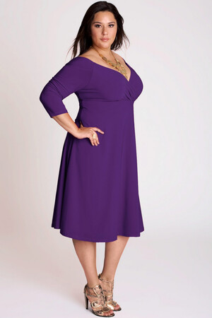 Mangolino Dress - Büyük Beden Abiye Elbise Mor MDBS8003 (1)