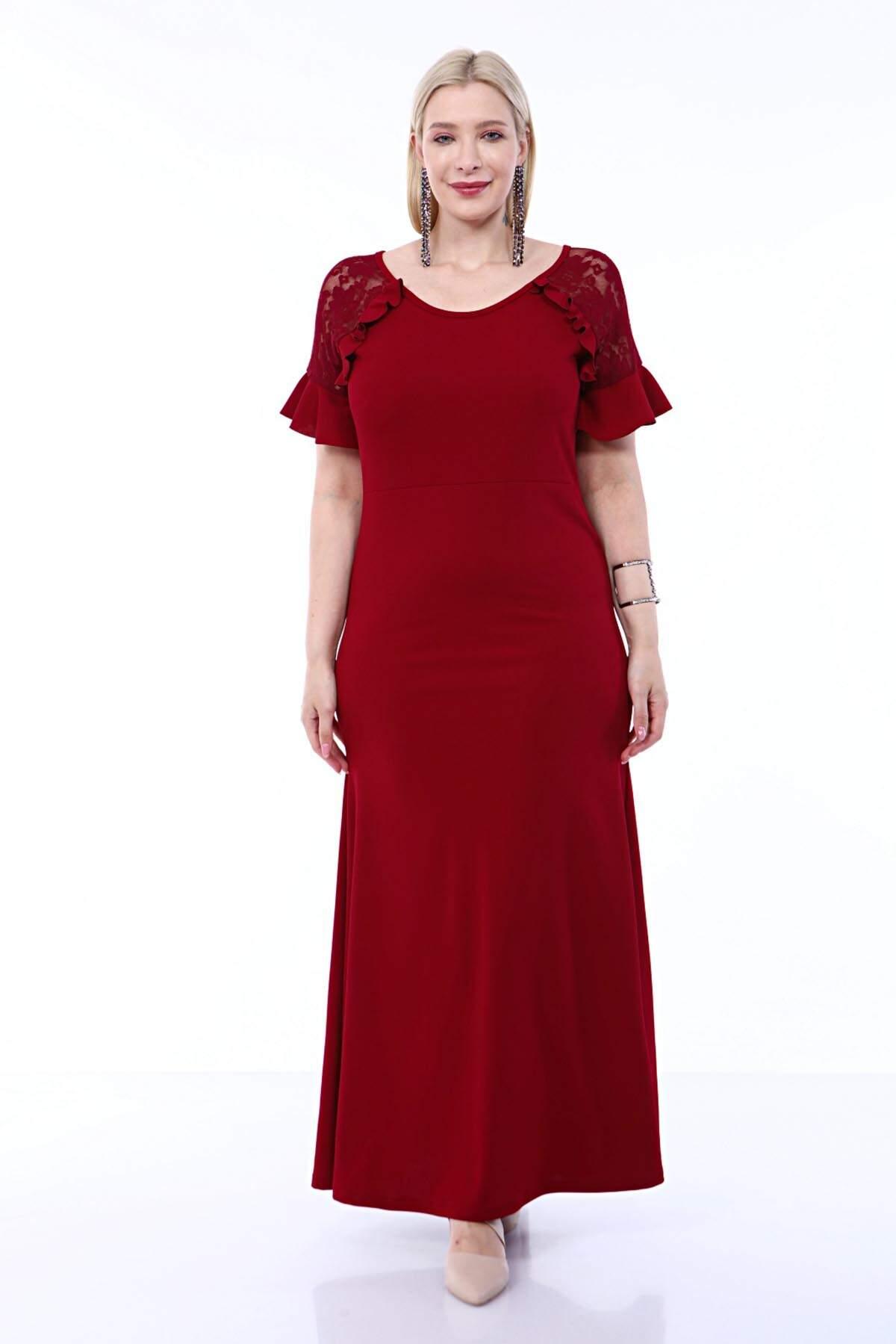 Büyük Beden Abiye Omuz Güpür Kısa Kollu Fırfır Detaylı Skuba Uzun Elbise 8013