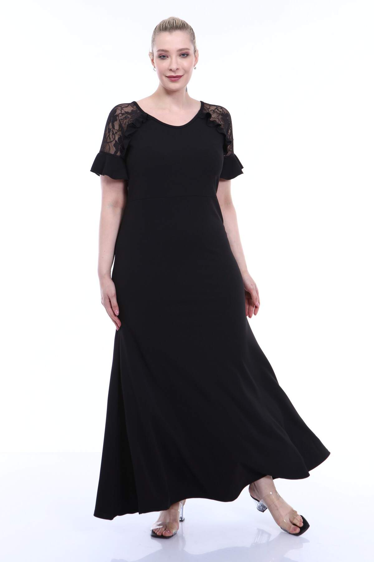 Büyük Beden Abiye Omuz Güpür Kısa Kollu Fırfır Detaylı Skuba Uzun Elbise Siyah 8013