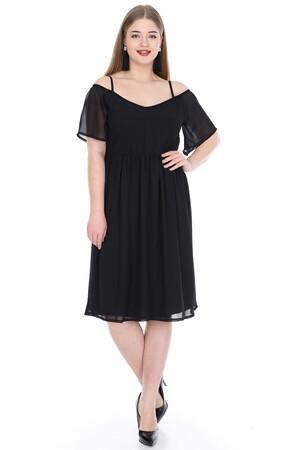 Angelino Butik - Büyük Beden Abiye Siyah Elbise PNR5602 (1)