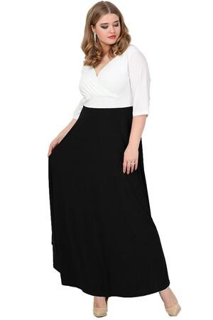 Angelino Butik - Büyük Beden Abiye Uzun Elbise KL8003U Beyaz Siyah (1)