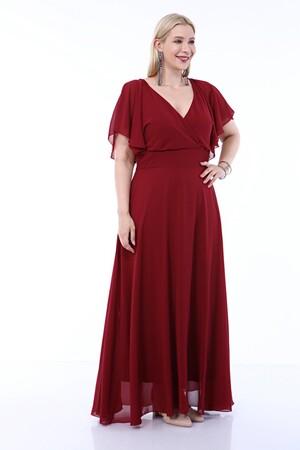 Angelino Butik - Büyük Beden Arka ve Ön Pelerin V Yaka Şifon Abiye Uzun Elbise 8012 (1)