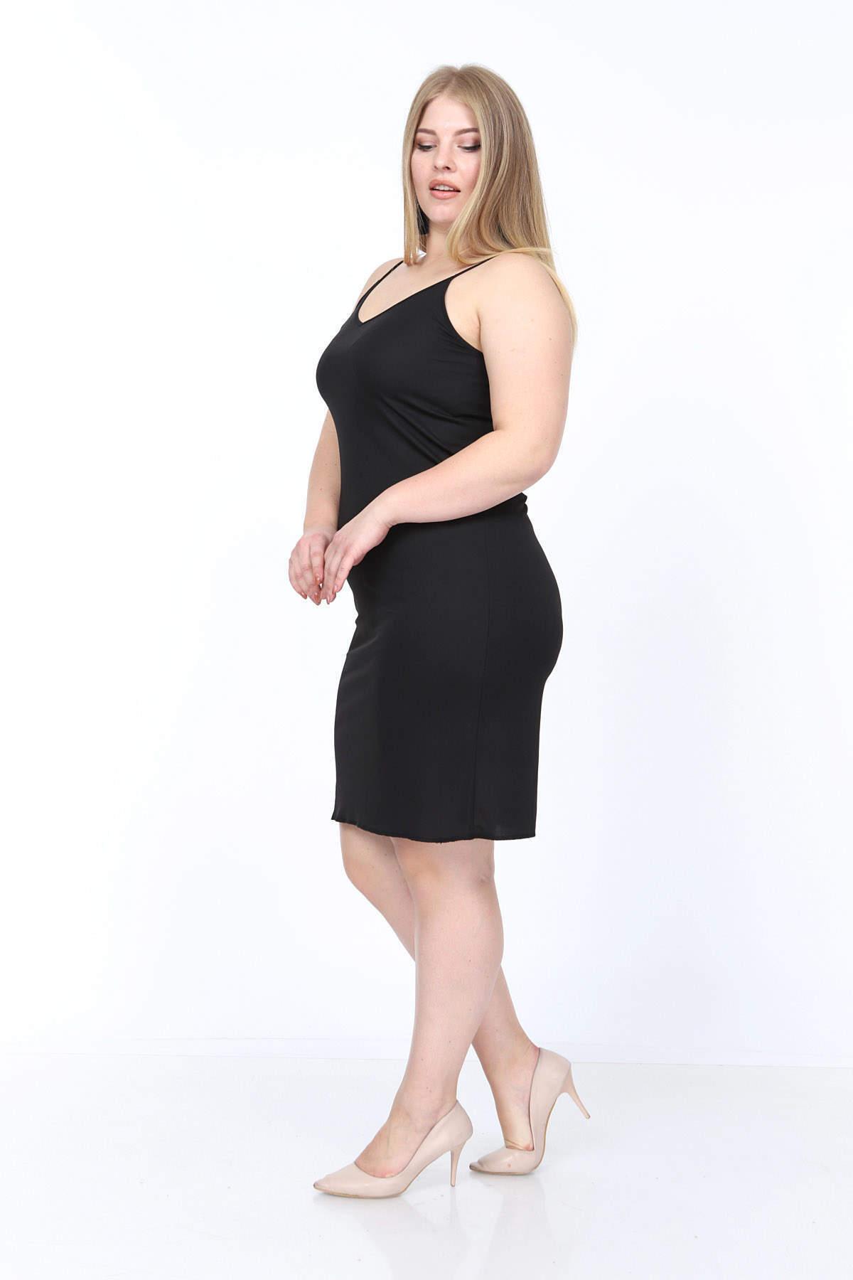 Büyük Beden Askılı V Yaka İç Elbise KL4569 Siyah