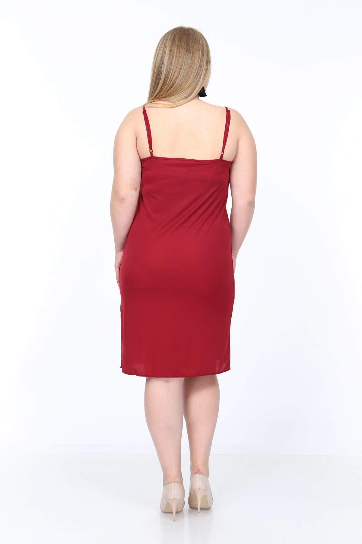 Büyük Beden Askılı V Yaka İç Elbise KL4569 Bordo