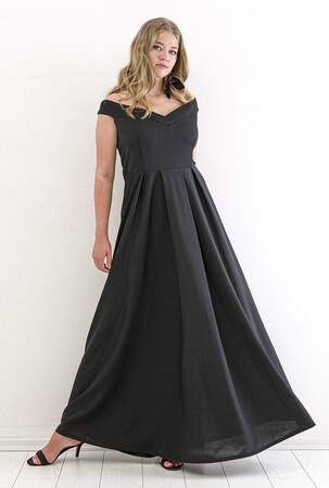 Angelino Butik - Büyük Beden Atlas Kumaş Öpücük Yaka Elbise KL812u Siyah (1)