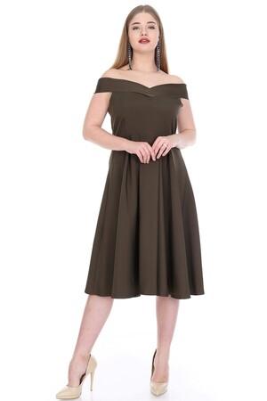 Angelino Butik - Büyük Beden Atlas Öpücük Yaka Elbise KL812k Haki (1)