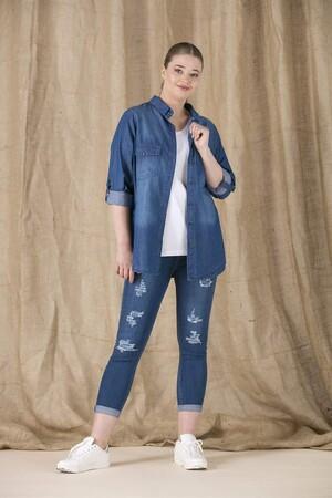Angelino Fashion - Büyük Beden Tensel Gömlek RM6548 Lacivert (1)