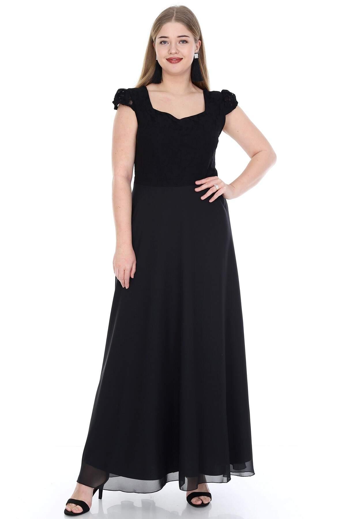 Büyük Beden Bebe Kol Şifon Uzun Abiye Elbise KL817