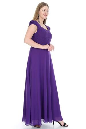 Angelino Butik - Büyük Beden Bebe Kol Uzun Abiye Elbise KL817 (1)