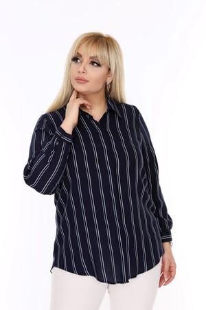 Angelino Fashion - Büyük Beden Beyaz Çizgi Detaylı Lacivert Gömlek AF607 (1)