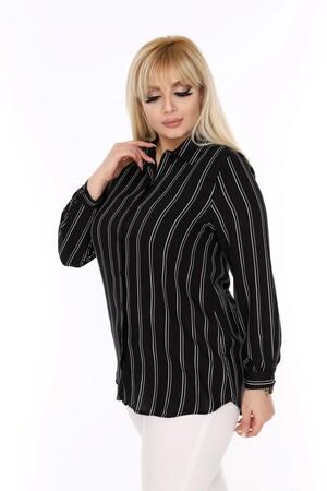 Angelino Fashion - Büyük Beden Beyaz Çizgi Detaylı Siyah Gömlek AF608 (1)