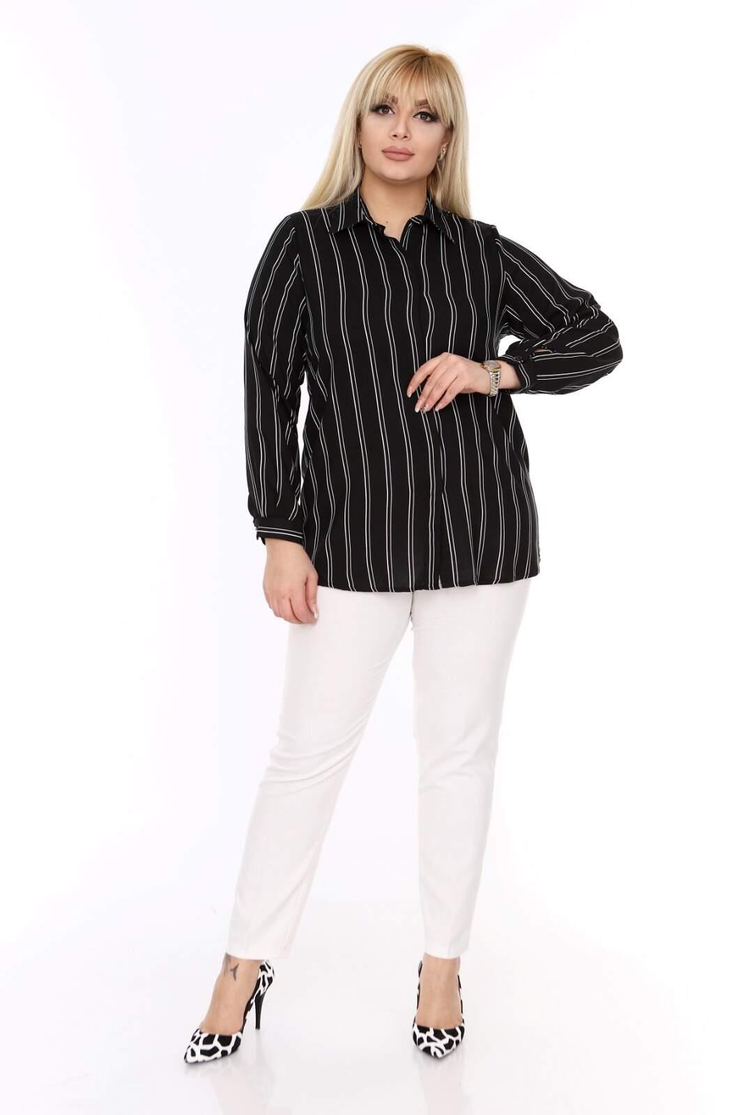 Büyük Beden Beyaz Çizgi Detaylı Siyah Gömlek AF608