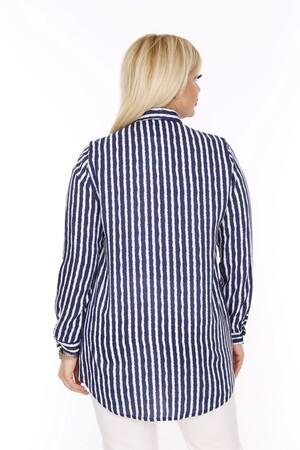 Angelino Fashion - Büyük Beden Beyaz Çizgili Lacivert Gömlek AF602 (1)