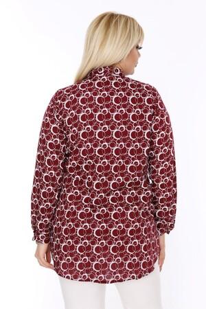 Angelino Fashion - Büyük Beden Beyaz Desen Detaylı Bordo Gömlek AF610 (1)