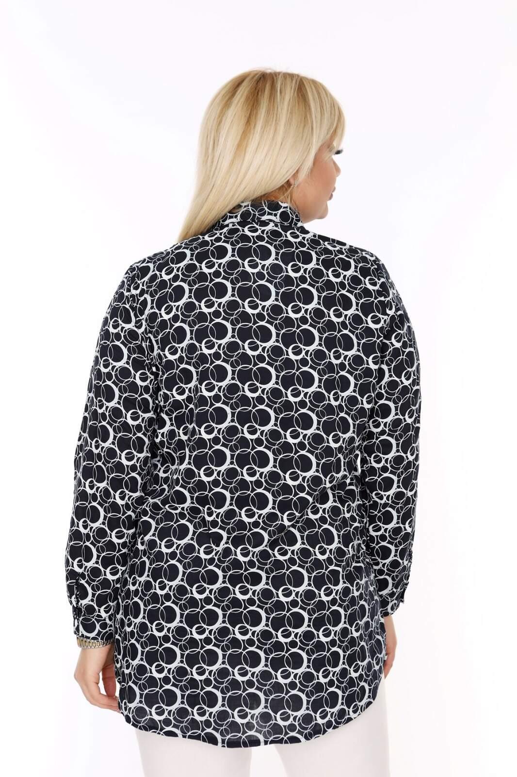Büyük Beden Beyaz Desen Detaylı Siyah Gömlek AF610