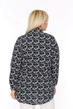 Angelino Fashion - Büyük Beden Beyaz Desenli Siyah Gömlek AF603 (1)