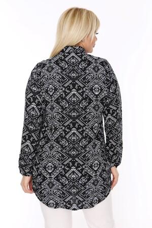 Angelino Fashion - Büyük Beden Beyaz Desenli Siyah Gömlek AF604 (1)