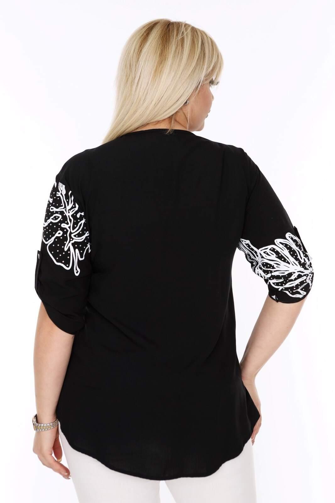 Büyük Beden Beyaz Desenli Siyah Gömlek AF605