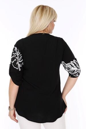 Angelino Fashion - Büyük Beden Beyaz Desenli Siyah Gömlek AF605 (1)