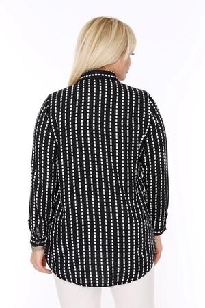Angelino Fashion - Büyük Beden Beyaz Kare Desen Detaylı Siyah Gömlek AF1438 (1)