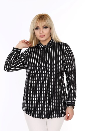 Angelino Fashion - Büyük Beden Beyaz Kare Desen Detaylı Siyah Gömlek AF611 (1)