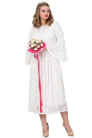 Angelino Butik - Büyük Beden Beyaz Komple Dantel Tesettür Elbise 110 -791 (1)