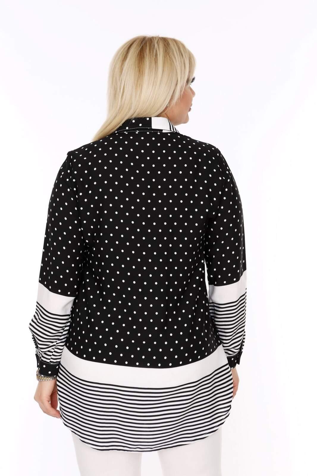 Büyük Beden Beyaz Puantiye Detaylı Beyaz Çizgili Siyah Gömlek AF612