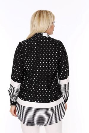 Angelino Fashion - Büyük Beden Beyaz Puantiye Detaylı Beyaz Çizgili Siyah Gömlek AF612 (1)