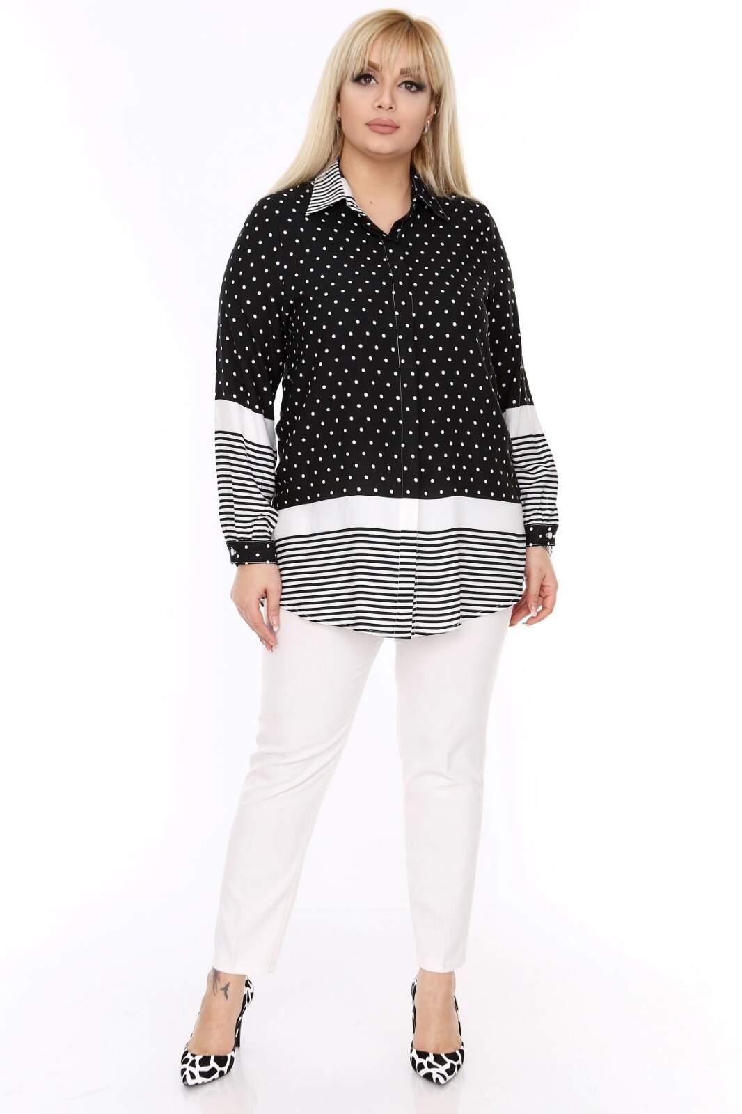 Büyük Beden Beyaz Puantiye Detaylı Beyaz Çizgili Siyah Gömlek LX1438