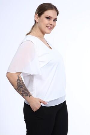 Angelino Butik - Büyük Beden Beyaz Şifon Abiye Bluz B8008 (1)