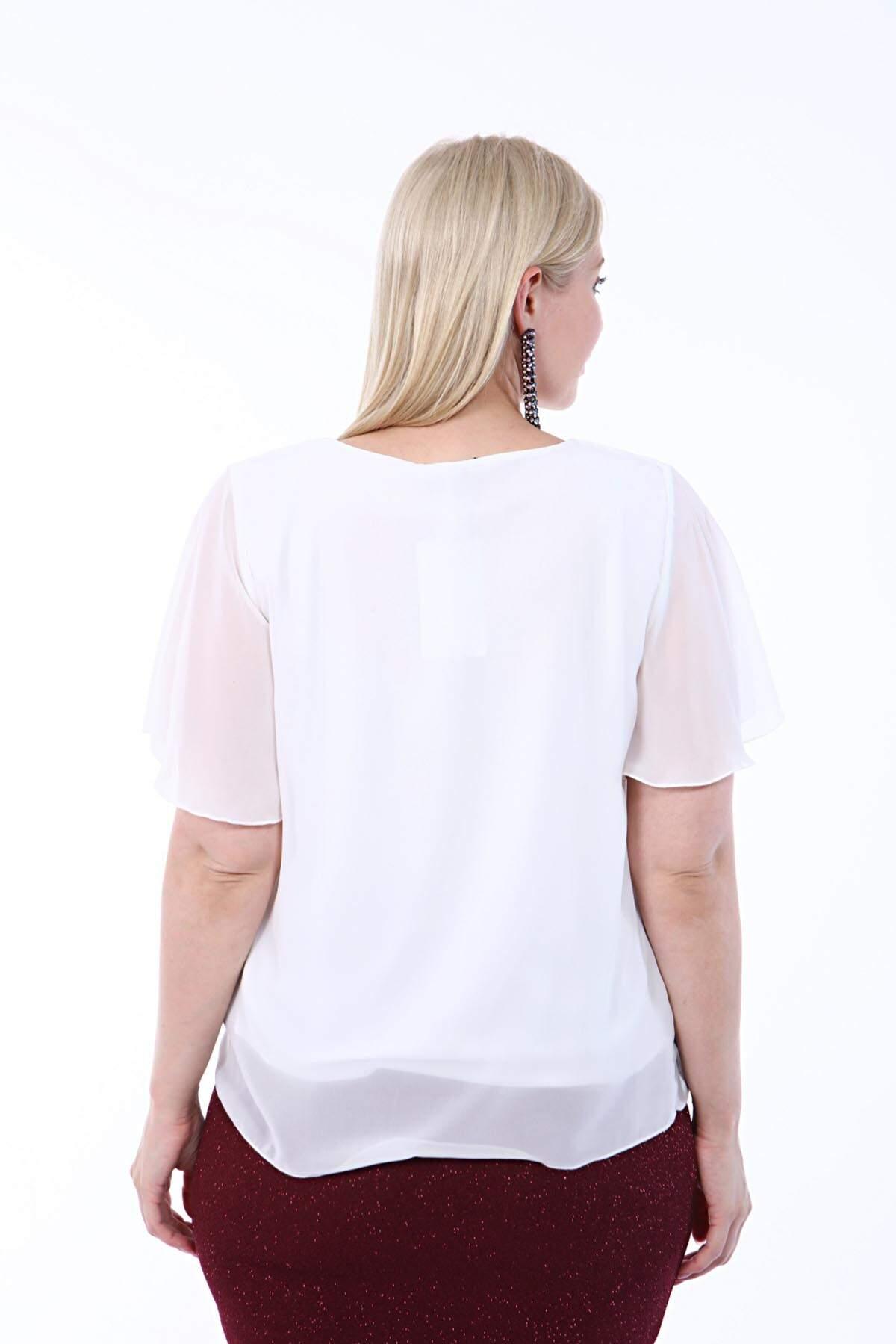 Büyük Beden Beyaz Şifon Abiye Bluz B8008
