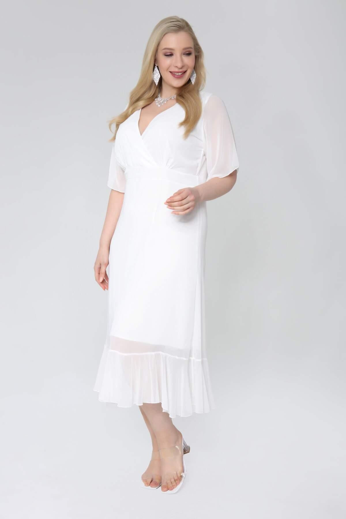 Büyük Beden Beyaz Şifon Altı Pileli Kruvaze Yaka Elbise KL7713