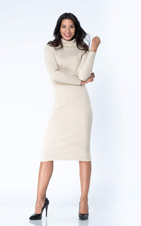 Angelino Style - Büyük Beden Boğazlı Esnek Triko Uzun Elbise YM8110 Bej (1)