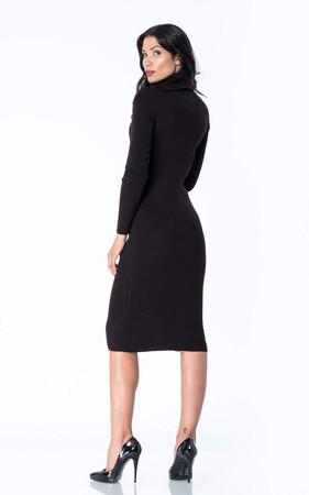 Angelino Style - Büyük Beden Boğazlı Esnek Triko Uzun Elbise YM8110 Siyah (1)