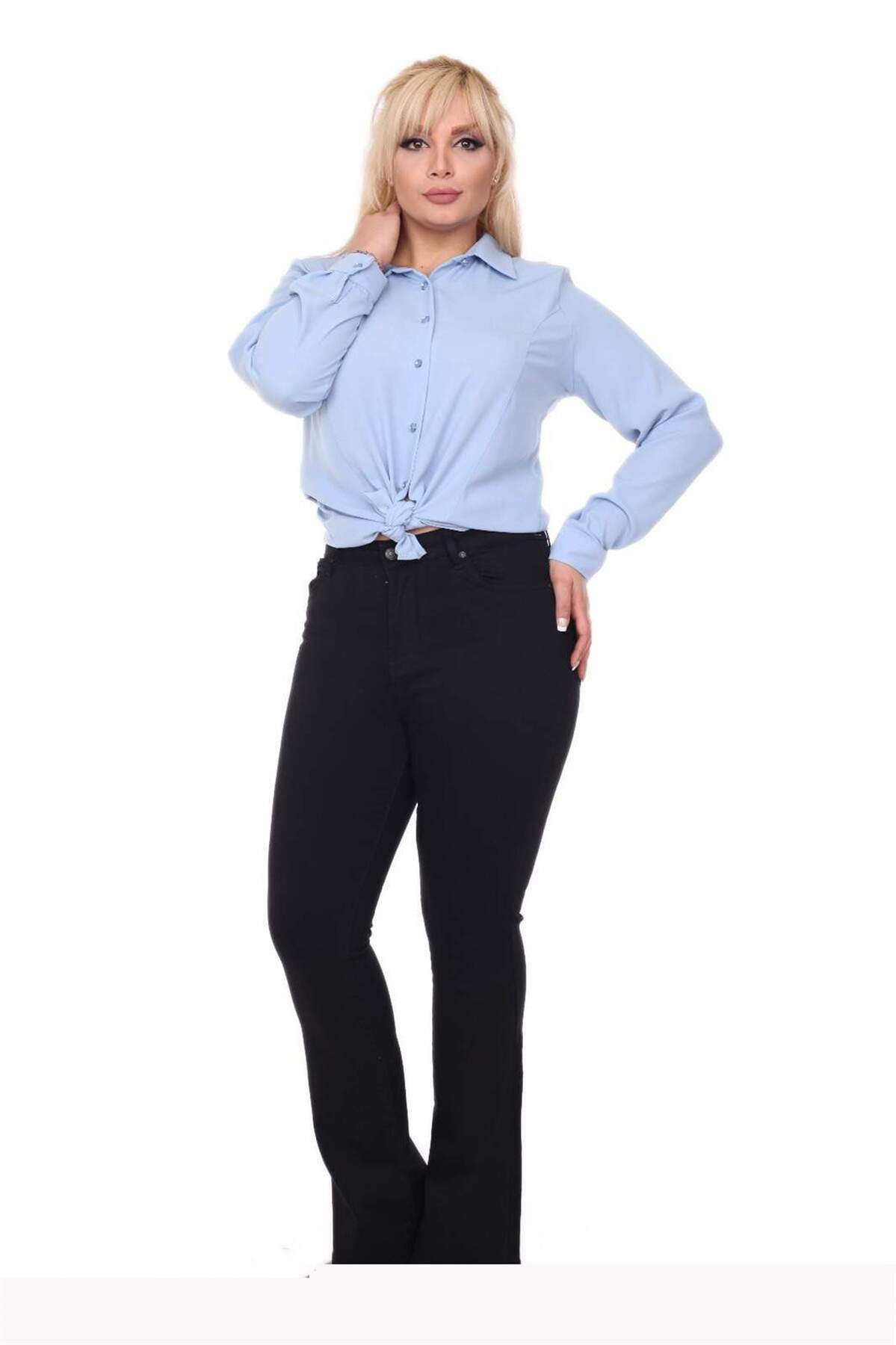 Büyük Beden Bol Paça Kot Pantolon MF23028 Siyah