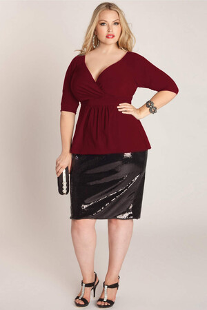 Mangolino Dress - Büyük Beden Bordo Bluz MDBS8004 (1)