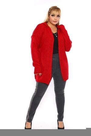 Angelino Fashion - Büyük Beden Cep Detay Akrilik Triko Hırka YM774-46 Bordo (1)