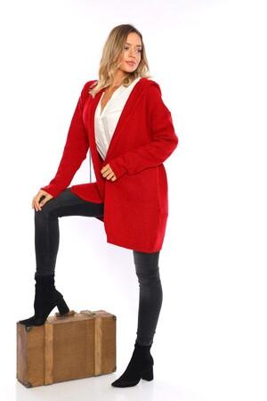 Angelino Fashion - Büyük Beden Cep Detay Akrilik Triko Hırka YM774 Kırmızı (1)