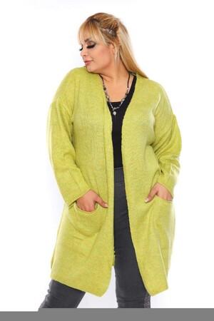 Angelino Fashion - Büyük Beden Cep Detay Akrilik Triko Hırka YM774-46 Limon (1)