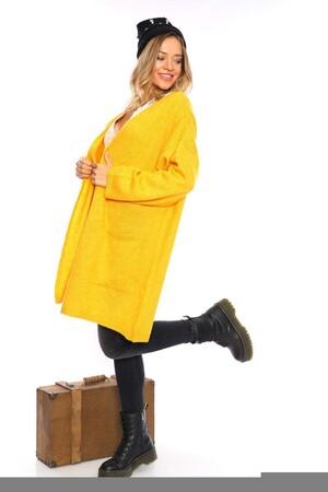 Angelino Fashion - Büyük Beden Cep Detay Akrilik Triko Hırka YM774 Sarı (1)