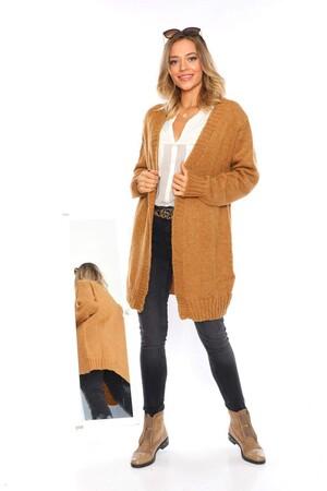 Angelino Fashion - Büyük Beden Cep Detay Akrilik Triko Hırka YM774 Tarçın (1)