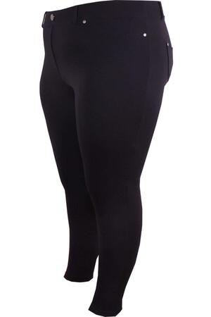 Angelino Fashion - Büyük Beden Cep Detay Pantolon Görünümlü Tayt 44087 Siyah (1)